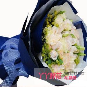 鲜花11朵白玫瑰10朵康乃馨
