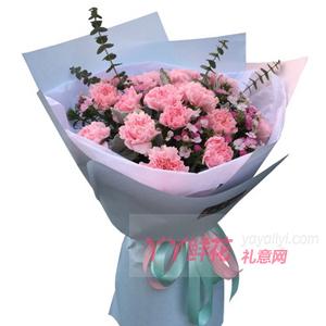 温馨亲情-21朵康乃馨搭配尤加利叶小碎花