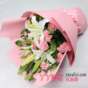 一生守候-19枝粉色康乃馨6朵百合