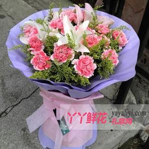 母亲节19朵粉色康乃馨4枝百合鲜花预定