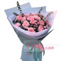 21朵康乃馨搭配尤加利叶小碎花