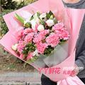 24朵粉色康乃馨6朵百合鲜花预订