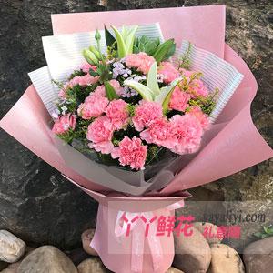 鲜花19枝粉色康乃馨4枝百合