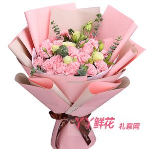 姐姐生日送21朵粉色康乃馨绿桔梗丰满尤加利点缀