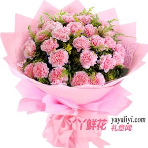 媽媽生日女兒送媽媽19枝粉色康乃馨