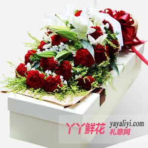 开心祝福-19支红色康乃馨2枝多头百合白色礼盒