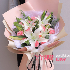 11朵粉色康乃馨2只多头...