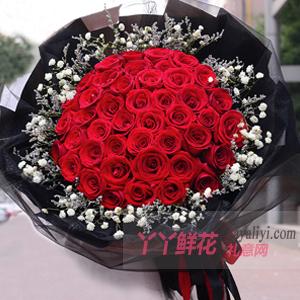 相伴到永遠-33朵紅玫瑰滿天星情人草黑紗款