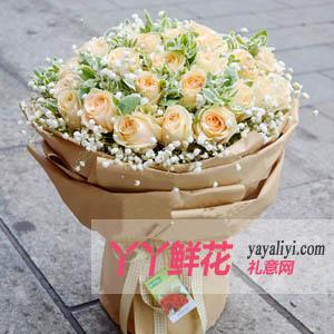 追忆我们的爱情-鲜花39枝香槟玫瑰