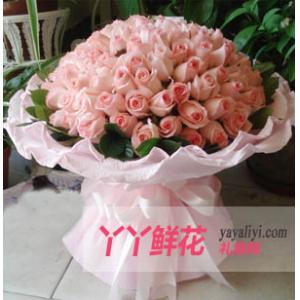 鮮花99枝戴安娜粉玫瑰