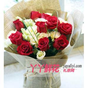 鮮花16枝紅玫瑰9枝洋桔...