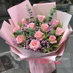 一生愛戀-11朵粉玫瑰搭配黃鶯滿天星尤加利