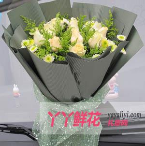 爱之恋-鲜花11枝香槟玫瑰