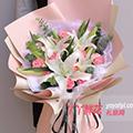 11朵粉色康乃馨2只多頭百合