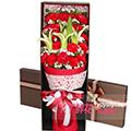 19枝紅色康乃馨2枝香水百合搭配黃鶯滿天星禮盒