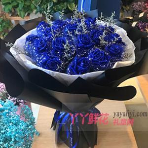 幸福的源泉-33朵蓝色妖姬搭配情人草