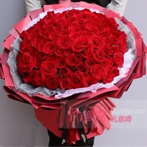 知己-99朵红玫瑰酒红色包装