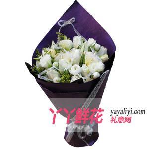 鮮花速遞19枝白玫瑰