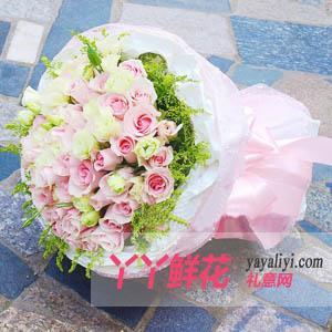 愛人生日送花66枝粉玫瑰