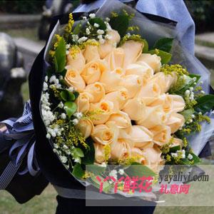 爱恋如风-女朋友生日送花33枝香槟玫瑰