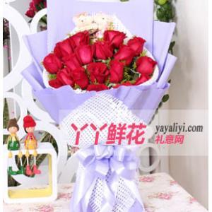 鮮花速遞19枝紅玫瑰2只小熊