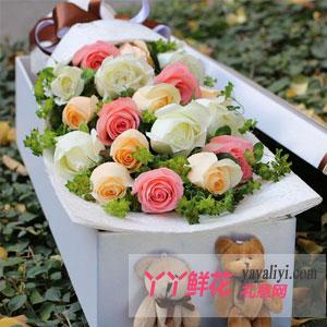 有你的浪漫-19支混色玫瑰2只小熊礼盒