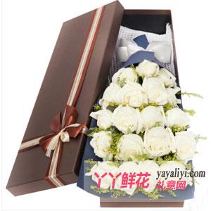 憶往兮-鮮花速遞19枝白玫瑰禮盒