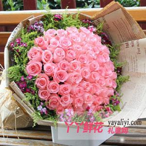 淡淡的芬芳-鲜花66枝粉玫瑰