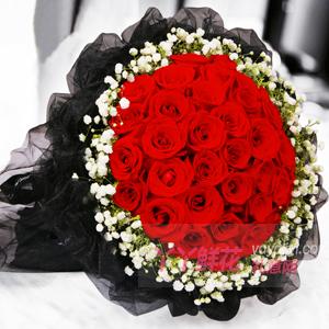 七夕節33枝紅玫瑰黑紗款