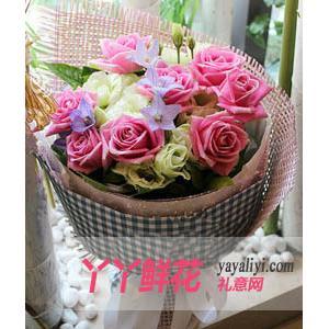 鮮花速遞16枝粉玫瑰加桔...