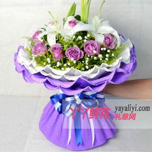 鲜花-鲜花11朵紫色玫瑰4朵白色香水百合