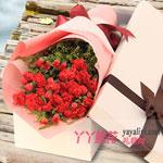 鲜花33枝红色康乃馨白色礼盒