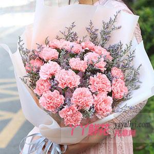青春美丽 - 21朵粉康乃馨情人草搭配