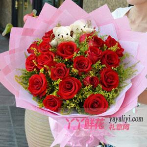 19朵紅玫瑰2小熊粉色款