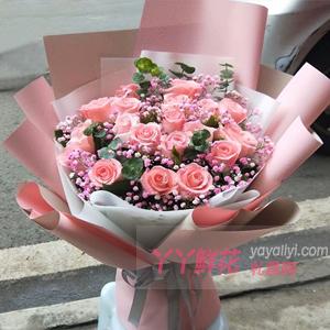 19枝粉玫瑰桔梗尤加利叶