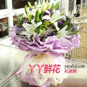 紫色浪漫-鮮花18朵白色百合