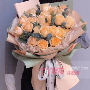 花店33枝香槟玫瑰