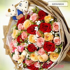 繁密花苑-33朵混色玫瑰同城送花