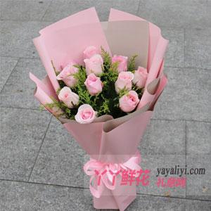 11朵粉玫瑰配黃鶯