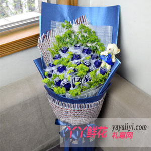 鲜花19枝蓝色妖姬