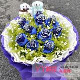 鲜花11枝蓝色妖姬2只小熊
