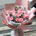 19枝粉玫瑰桔梗尤加利葉