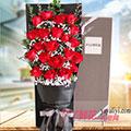 19朵红玫瑰满天星绿叶咖色礼盒款
