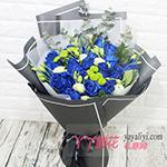 19朵蓝色妖姬配桔梗尤加利叶小绿菊
