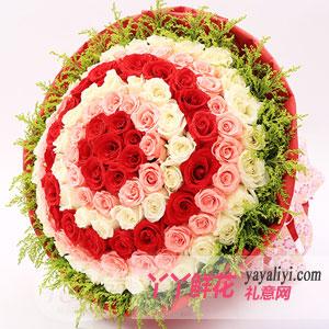 鲜花店99支混色玫瑰