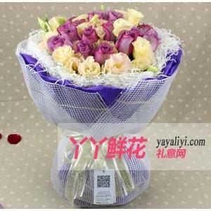 鮮花19支紫玫瑰