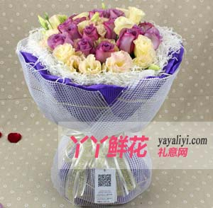 一辈子的相守-鲜花19支紫玫瑰