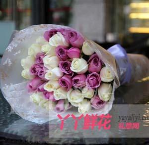 浓浓的爱-33支紫玫瑰白玫瑰花束