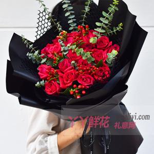 19朵红玫瑰搭配红豆尤加...