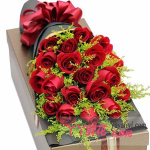 19支紅玫瑰咖色禮盒